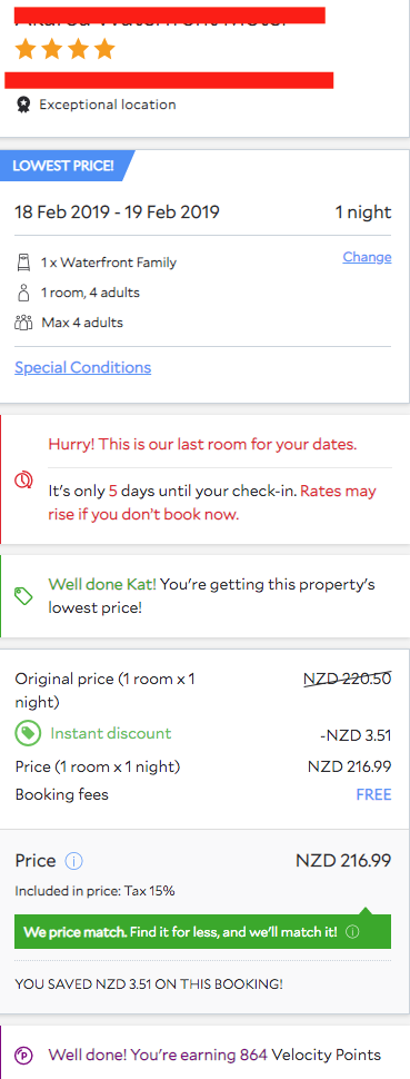 Agoda Check Out Form Screenshot