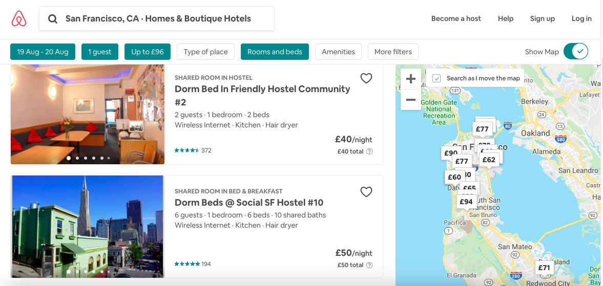 Example of Airbnb listings for hostels