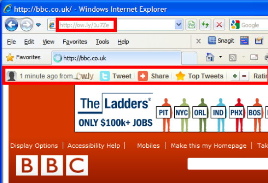BBC web page framejacked by ow dot ly browser confused browser claims bbc page address bar says still on ow dot ly
