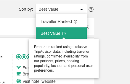 Screenshot Best Value on TripAdvisor