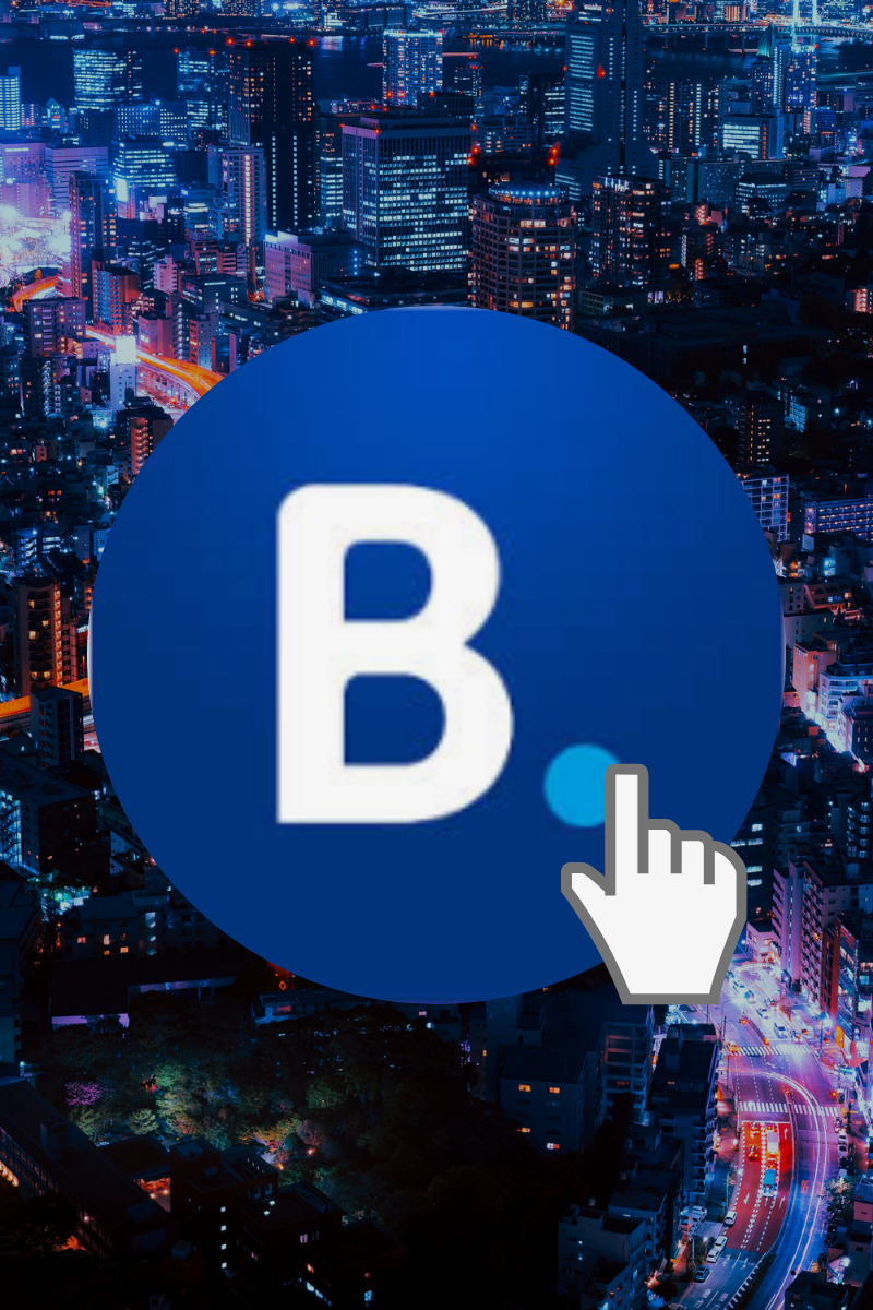 booking.com logo over city graphic