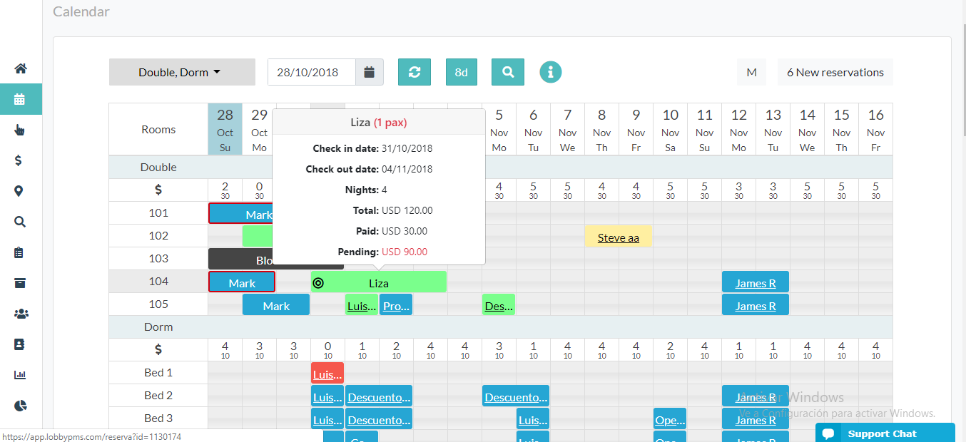 A view of the interactive calendar on LobbyPMS