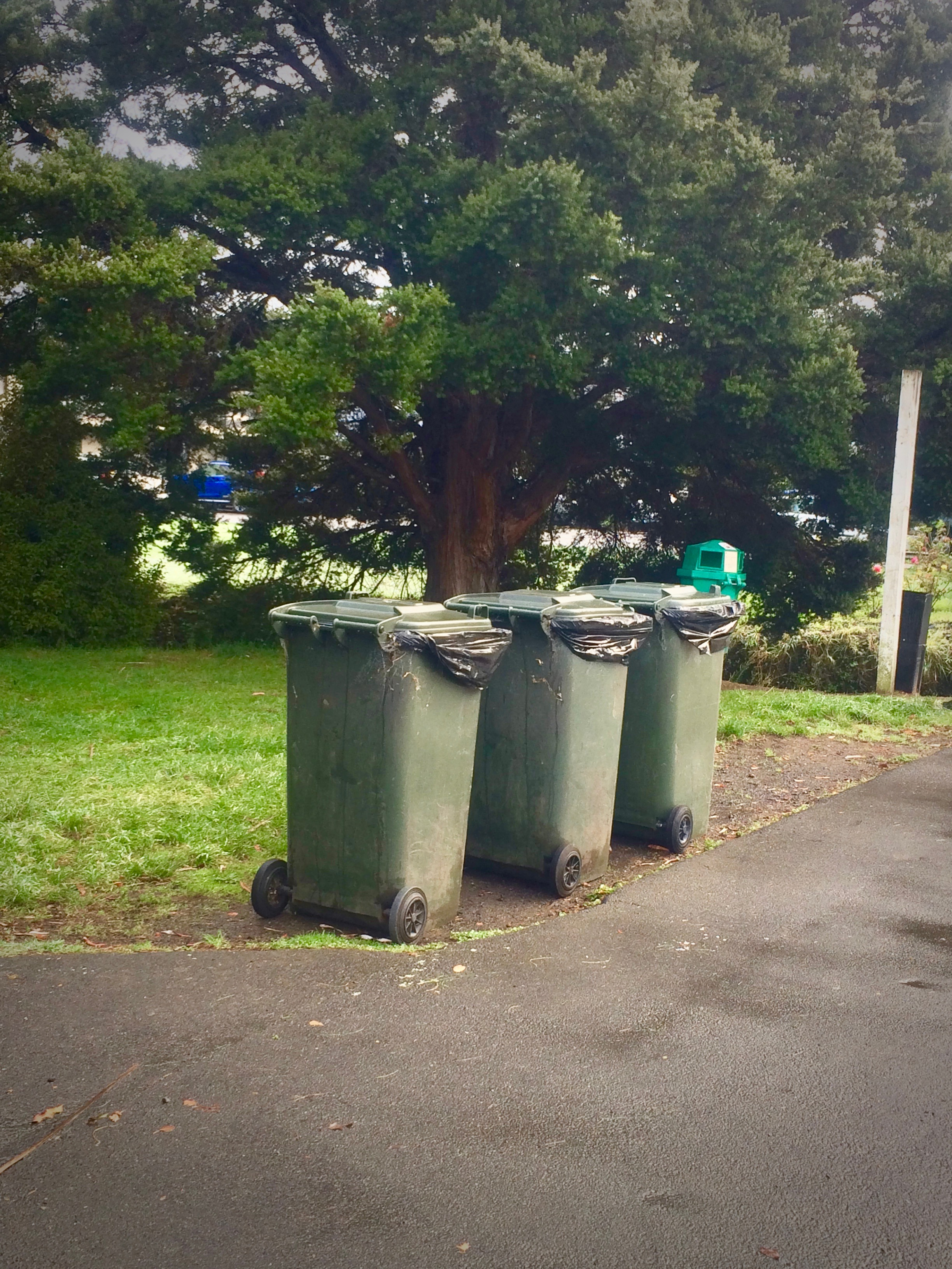 3 Green Rubbish Bins Awaiting Collection