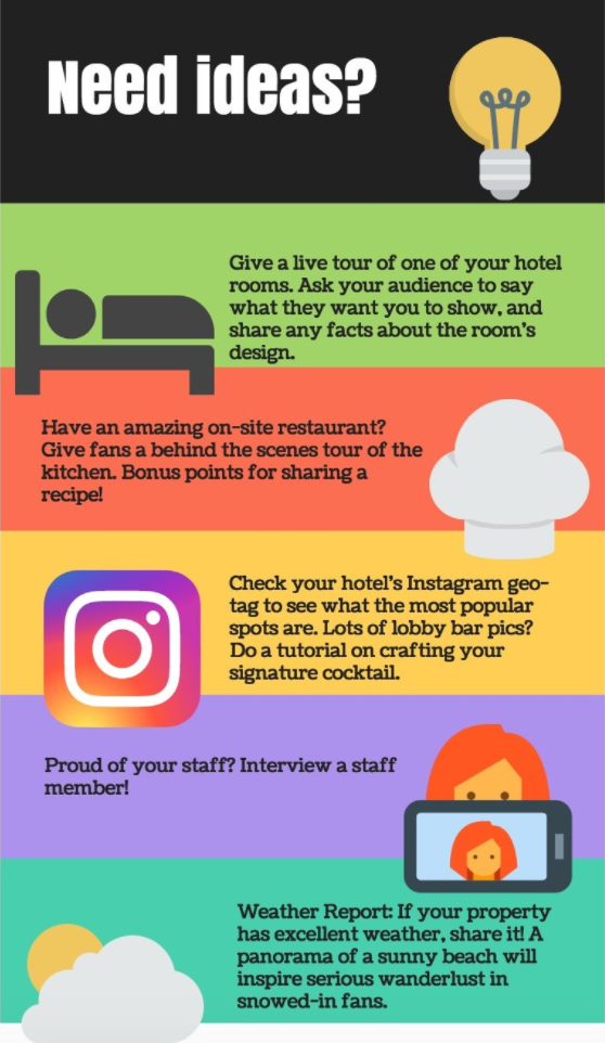 Facebook Live video ideas infographic