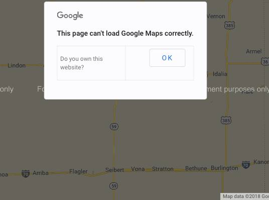 Google Maps Error Message