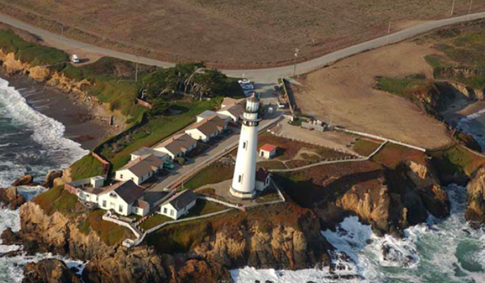 Overhead view of lighthouse at Pigeon Point Hostel