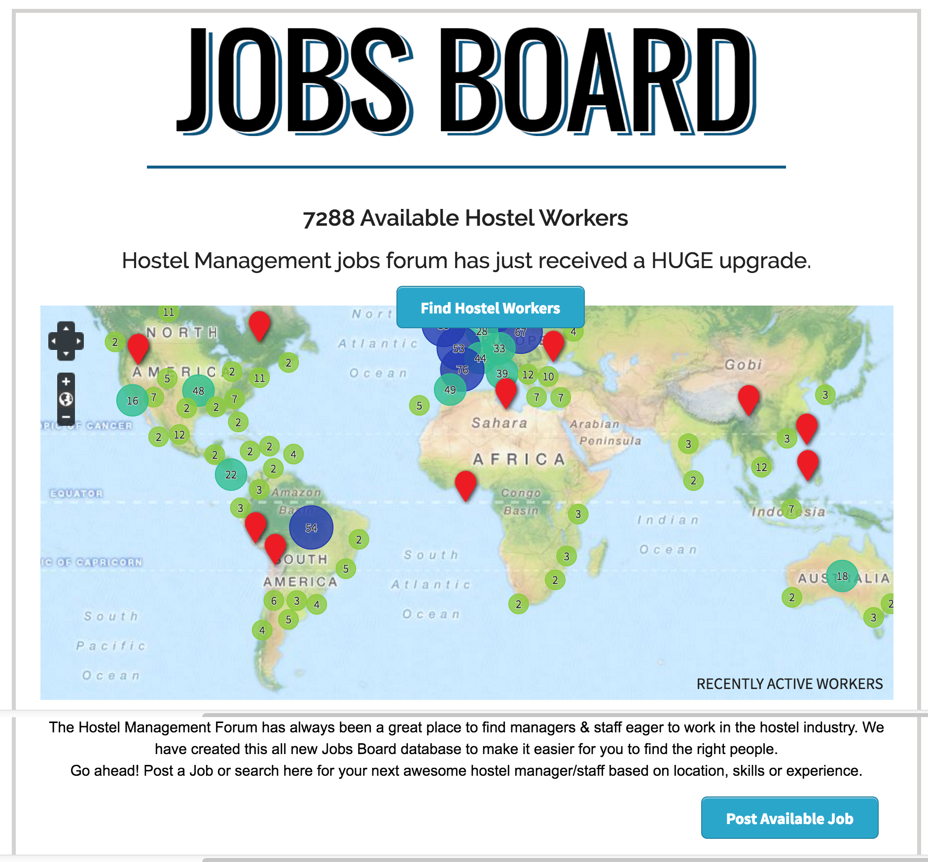 Hostel Management Jobs Board Screenshot with Map