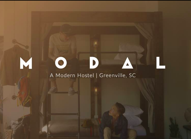 Modal Hostel, Greenville South Carolina Poster, Bunkbeds & guests