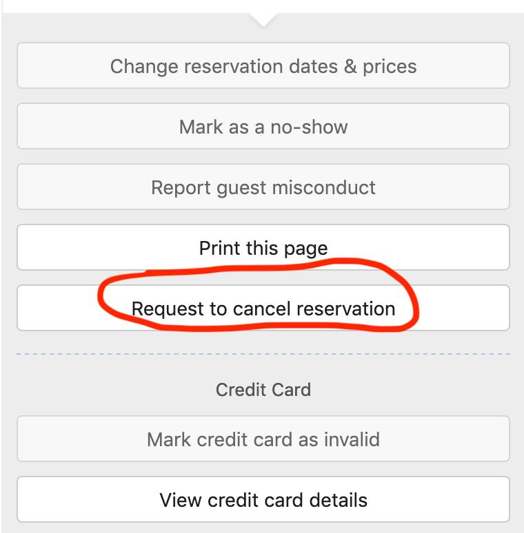Request to cancel reservation on Booking com