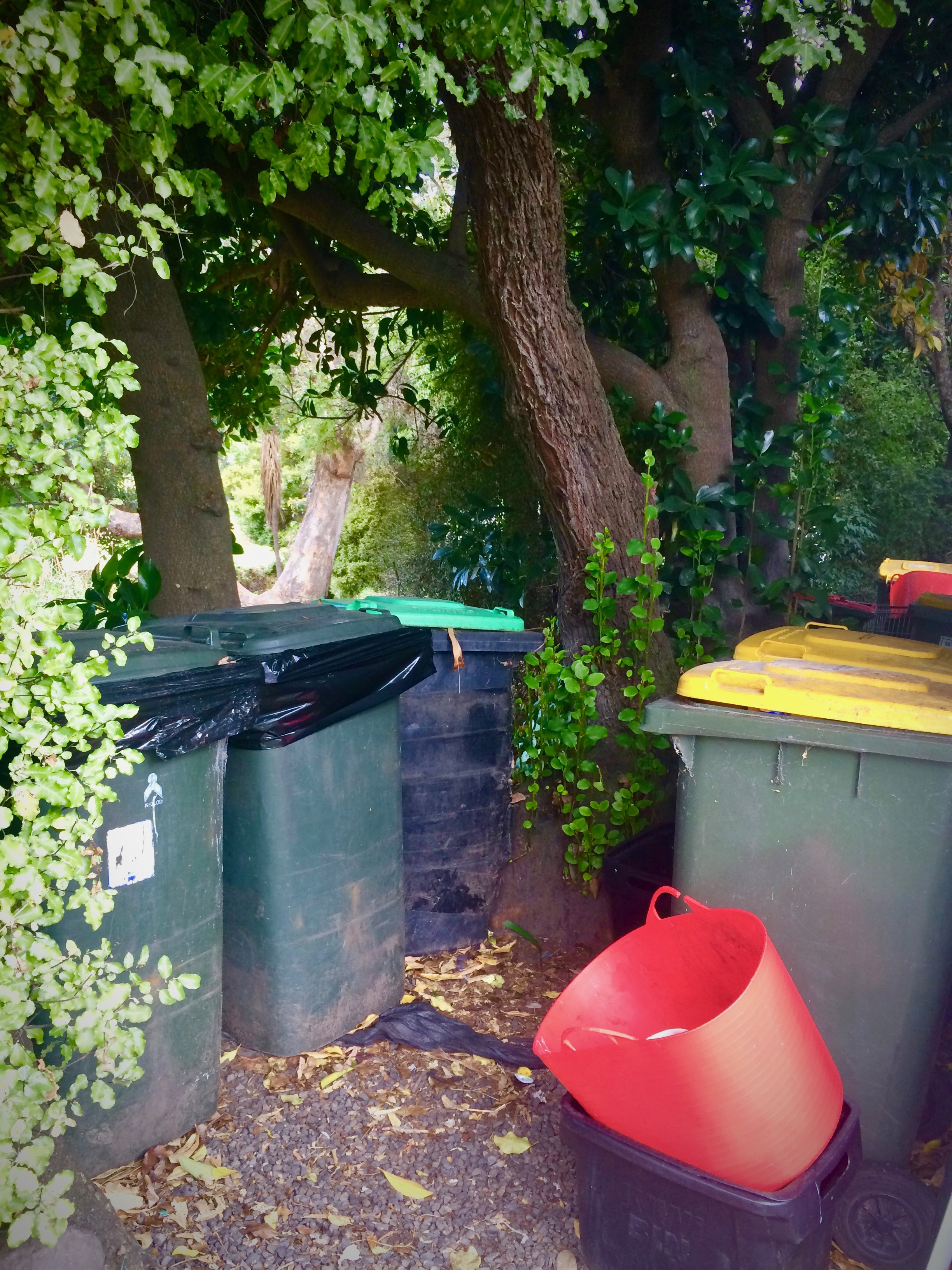 Rubbish Bins Lined Up, Red Yellow Green