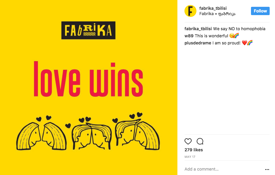 Love wins picture on Fabrika Instagram