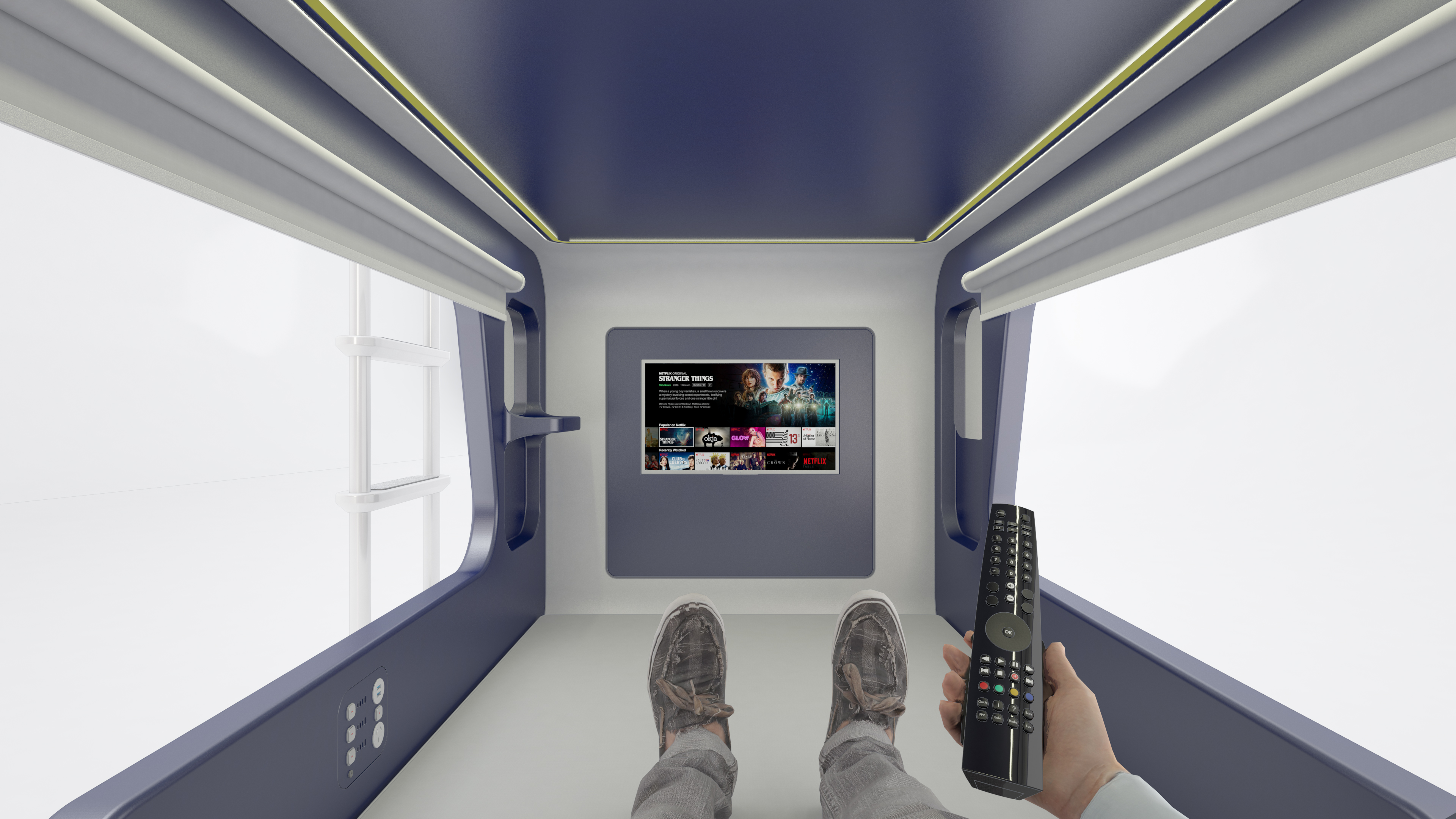rendering of person watching TV inside a pod style bunk bed SmartBunk