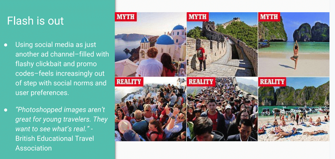 Slide showing Travelers Want what is Real