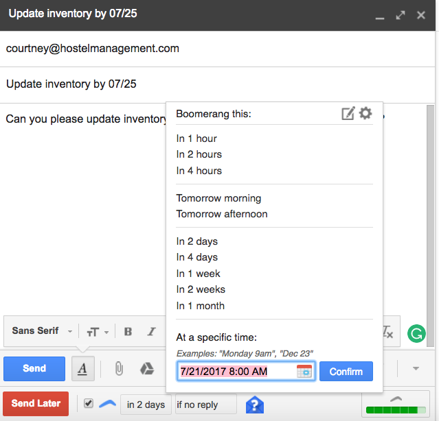 Boomerang for Gmail options for sending email back