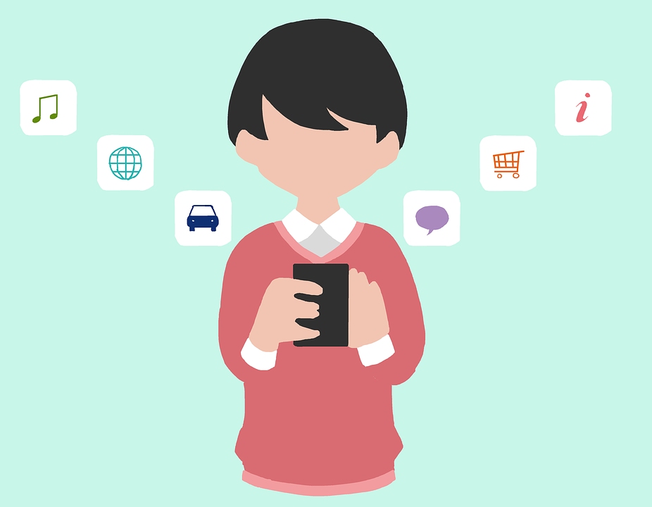 Boy with smartphone and several functions