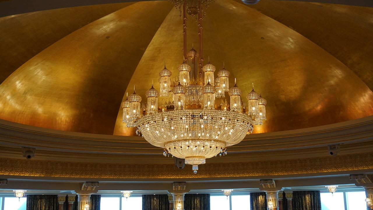 chandelier in hotel lobby