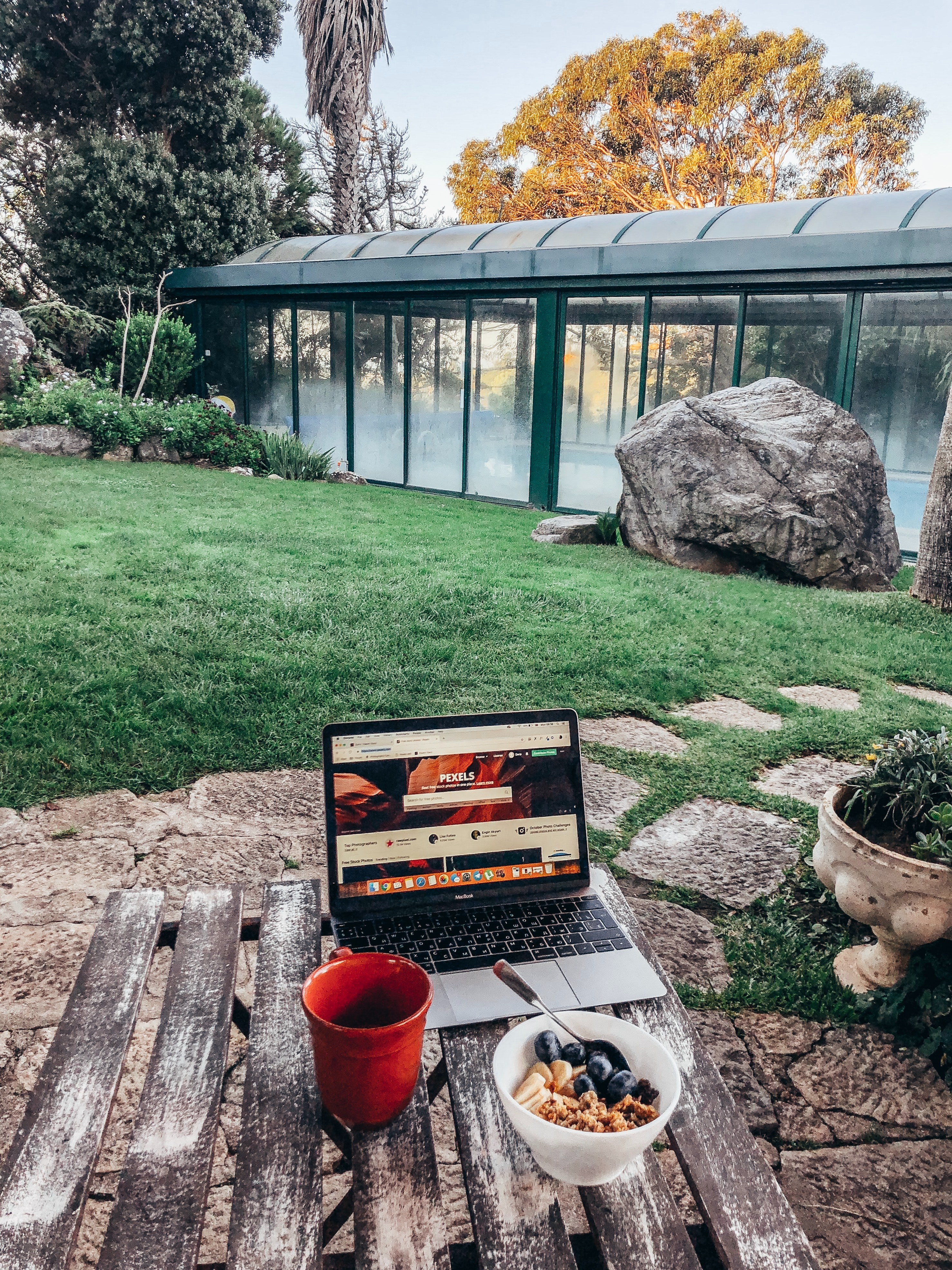 Computer in outdoor setting, Grass and Gazebo