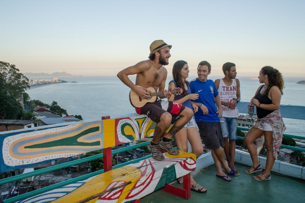 Favela Experience hostel with guests outside