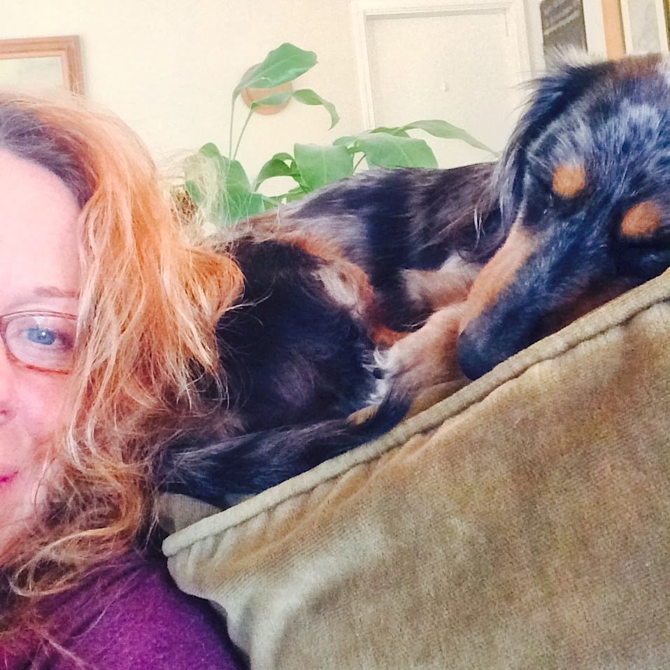 Kat and Sleeping dog Scrappy on a chair