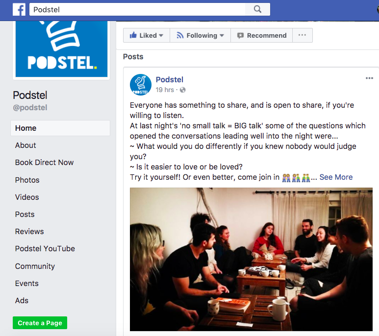 Podstel Hostel Facebook post