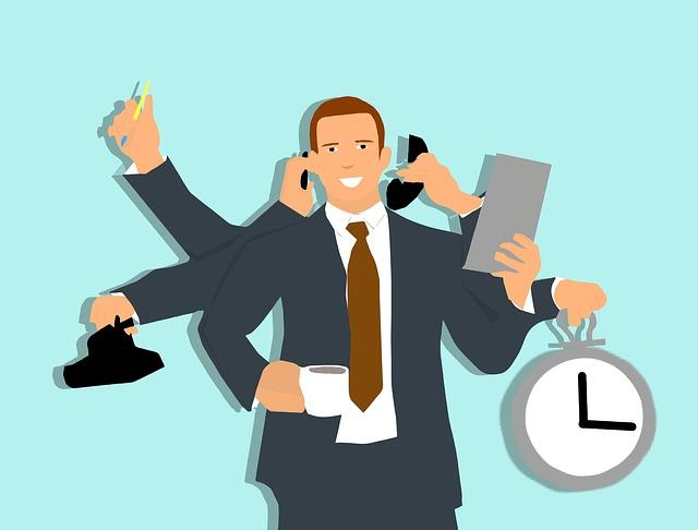 Illustration of man multitasking, phone, computer, clock