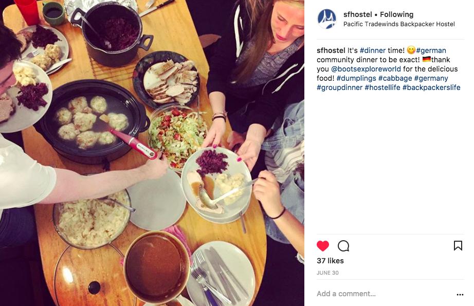 Pacific Tradewinds Hostel San Francisco instagram post dinner