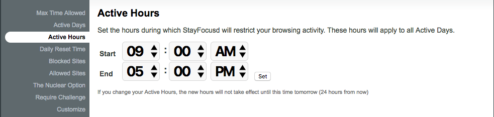 Choose your hours on stayfocusd app