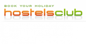 hostels club logo website booking integration
