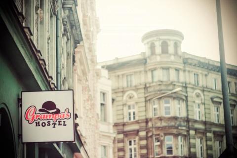 Grampas Hostel sign in Wroclaw Poland