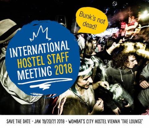 Announcement for the International Hostel Staff Meeting at Wombat's