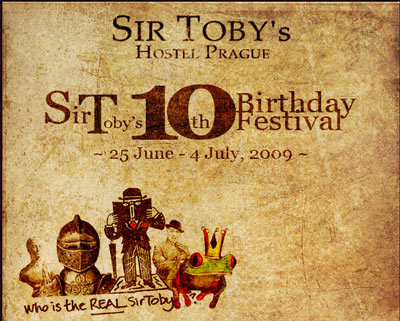 Sir Tobys Hostel in Prague Celebrates tenth Birthday with ten Day Festival