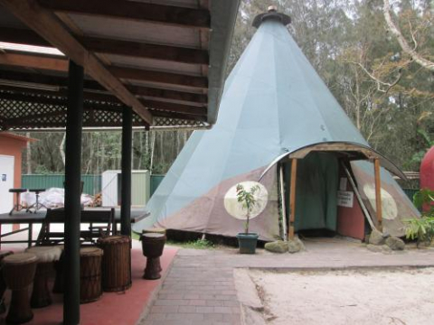 arts factory teepee djembes accommodation sleep tent outside hostel