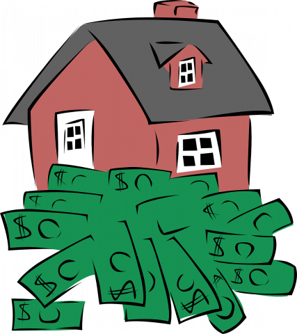 red cartoon house with many green dollar bills