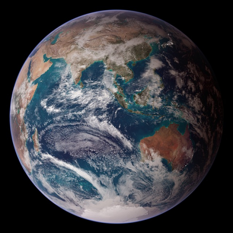 globe planet earth from space world ocean asia