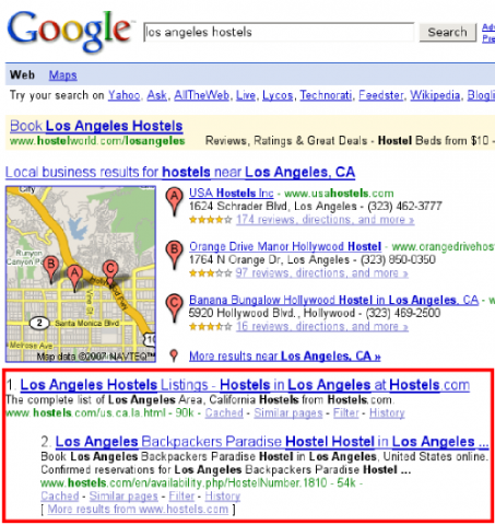 google piggyback search increase booking customers hostels