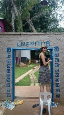guest painting legends backpacker lodge outside entrance hostel