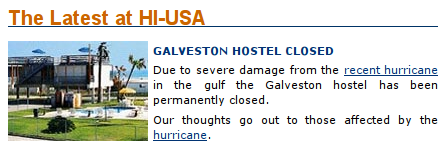hi galveston hostel closed