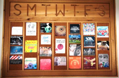 hostel ativity board wooden days of week events