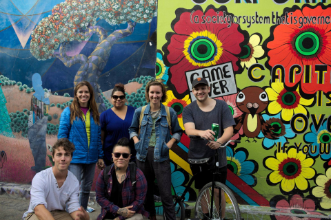 Backpackers from around the world hanging out