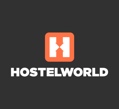 hostelworld mobile logo black background orange icon