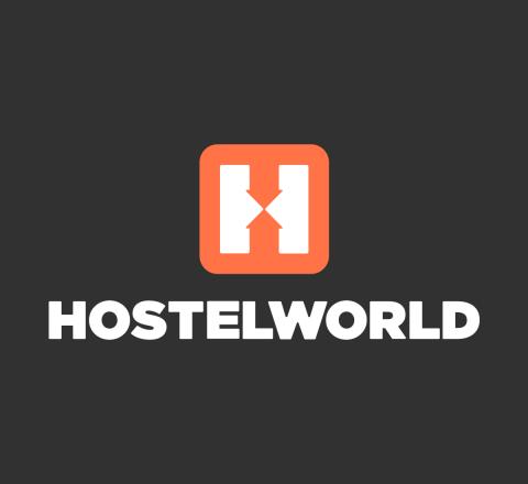 hostelworld mobile logo black background orange icon