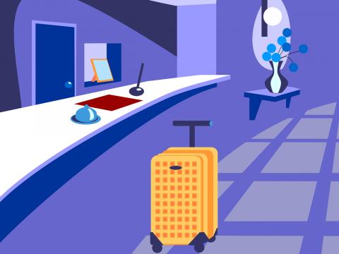 hotel reception cartoon with luggage