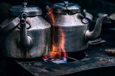 Kettles on StoveTop Fire