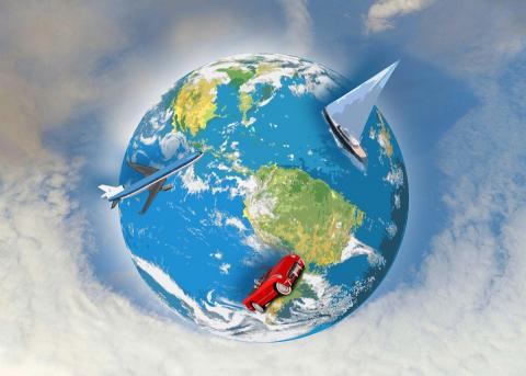 travel world globe planet earth boat car plane