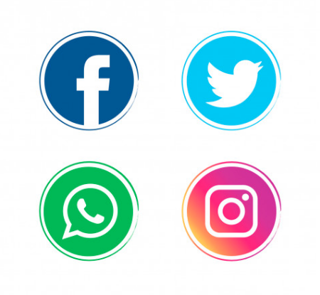Four Icons Facebook, Twitter, Instagram, WhatsApp